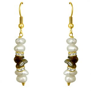 Surat Diamond - Real Freshwater Pearl & Uncut Tiger Eye Hanging Earrings - Se191