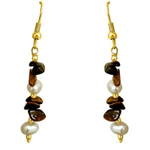 Surat Diamond - Uncut Tiger Eye & Freshwater Pearl Earrings - Se192
