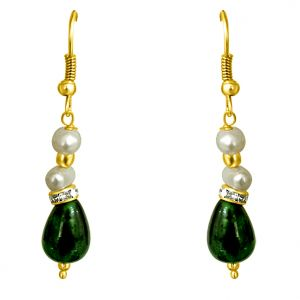 Surat Diamond - Drop Green Stone & Freshwater Pearl Earrings - Se193