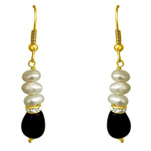 Surat Diamond - Drop Green Stone & Pearl Hanging Earrings - Se195