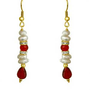 Surat Diamond - Real Freshwater Pearl & Drop Red Stone Hanging Earrings - Se196