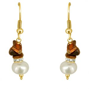 Surat Diamond - Trendy Pearl & Tiger Eye Earrings - Se201