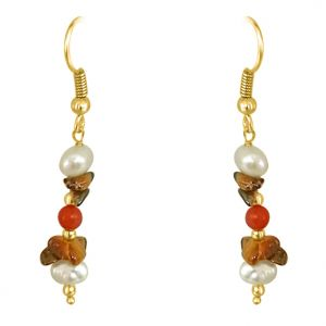 Surat Diamond - Tiger Eye Coral & Pearl Earrings - Se207