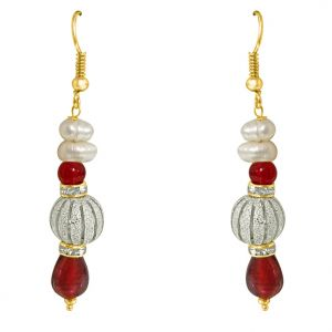 Surat Diamond - Real Pearl & Red Stone Hanging Earrings - Se216