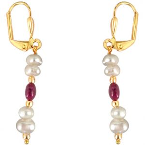 Surat Diamond - Simple Real Oval Red Ruby & Freshwater Pearl Earrings - Se219