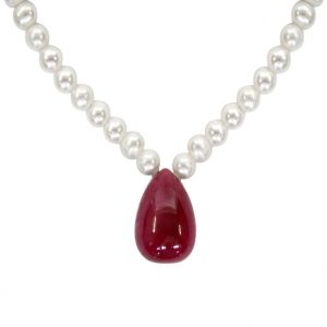 vipul,oviya,soie,surat diamonds Pearl Necklaces - Surat Diamond - 35.80 cts Real Ruby Drop & Freshwater Pearl Necklace - SN129-2