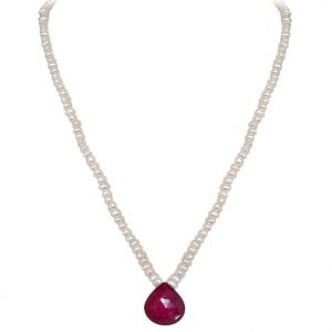 Triveni,Pick Pocket,Jpearls,Surat Diamonds,Arpera Women's Clothing - Surat Diamond - 11.78cts Faceted Drop Ruby & Freshwater Pearl Necklace - SN151-1