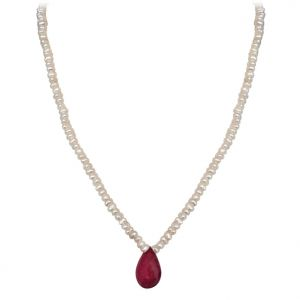 triveni,pick pocket,jpearls,surat diamonds,arpera,platinum,soie,cloe,kiara Pearl Necklaces - Surat Diamond - 11.24cts Faceted Drop Ruby & Freshwater Pearl Necklace - SN151-10