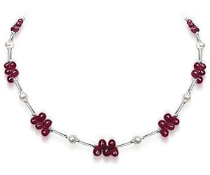 Surat Diamond - Dazzling Drops Ruby Necklace - Sn188