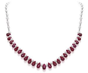 Surat Diamonds Pearl Necklaces - Surat Diamond - Round Pearl & Drop Ruby Necklace - SN189