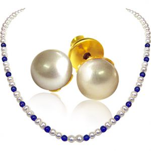 Surat Diamond - Roundish White Pearls And Blue Lapiz Necklace With Pearl Earrings - Sn19+se65