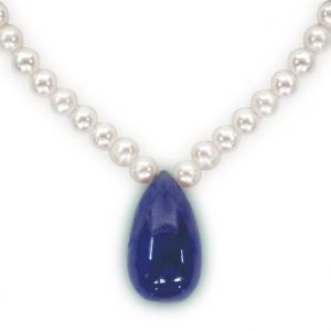 vipul,oviya,soie,surat diamonds Pearl Necklaces - Surat Diamond - 20.95cts Drop Sapphire & Freshwater Pearl Necklace - SN200-25