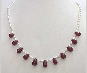 Surat Diamond - Sn-349 Single Line Drop Ruby And Rice Pearl Necklace - Sn-349