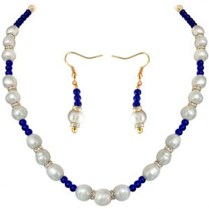 Surat Diamond - Blue Star - Real Pearl & Colored Stone Set - Sn651