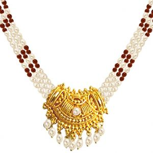 Surat Diamond - Pearl Necklace With Pendant - Snp4a