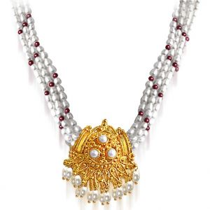 Surat Diamond - Pearl Necklace With Pendant - Snp9a