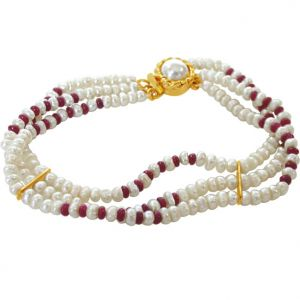 Surat Diamond - Pearl Ruby Creation Bracelet - Sb26