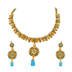 Surat Diamond - Blue Coloured Stone & Gold Plated Necklace & Earring Set -ps124