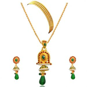 Surat Diamond - Bell Shaped Green & Red Coloured Stone Set With Bangles -ps32+4bangles