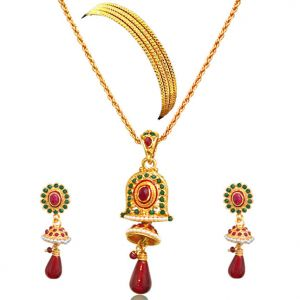 Surat Diamond - Red & Green Bell Shaped Gold Plated Set -ps36+4bangles