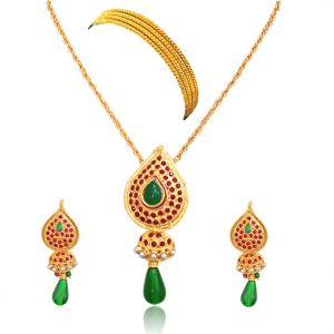 Surat Diamond - Drop Shaped Green & Red Gold Plated Set With Bangles -ps37+4bangles