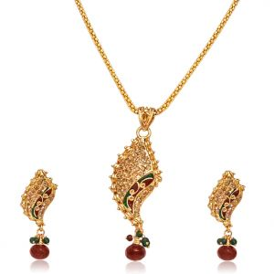 Surat Diamond - Fancy Shaped Gold Plated Pendant Necklace & Earring Set -ps42