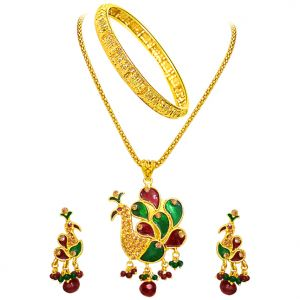 Surat Diamond - Peacock Shaped Necklace Set With Kada -ps44+1gram Kada