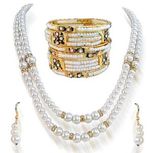 Surat Diamond - Shell Pearl Set With Bangles -ps77+moti Bangles