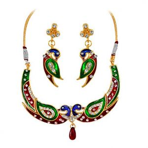 Surat Diamond - A Peacock Necklace Set -ps94