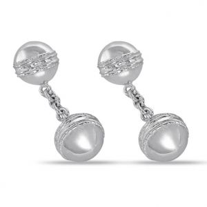 Surat Diamonds Men's Accessories - Surat Diamond - Silver Cricket Ball Cufflinks- Sds139