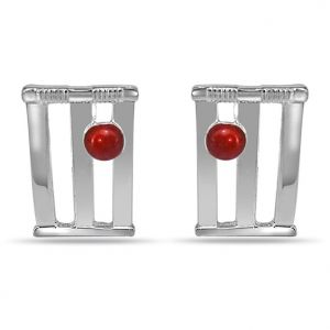 Surat Diamond - Cricket Stumps And Ball Cufflink In Silver- Sds140