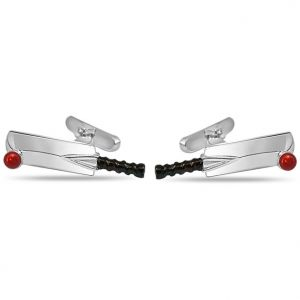Cufflinks - Surat Diamond - Cricket Bat And Ball Cufflinks In Silver- Sds142