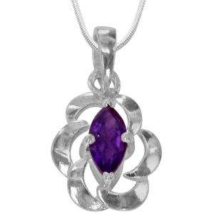 Surat Diamonds Silver Pendant Sets - Surat Diamond - Marquise Shaped Purple Amethyst & Sterling Silver Pendant With Chain- Sds148