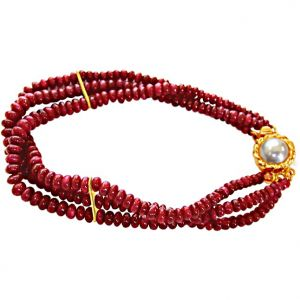 Jagdamba,Surat Diamonds,Valentine,Jharjhar,Asmi Gemstones - Surat Diamond Ruby Drool Bracelet SB25