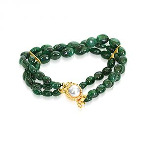 Rcpc,Kalazone,Jpearls,Surat Diamonds,Port Women's Clothing - Surat Diamond Emerald Beauty Charm Bracelet