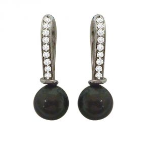 Silver Earrings - Surat Diamond 0.22ct Real Diamond & Tahitian Pearl Bali Earring In 925 Sterling Silver SDE2