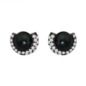 Silver Earrings - Surat Diamond 1.25ct Real Diamond & Tahitian Black Pearl Earring In 925 Silver SDE4