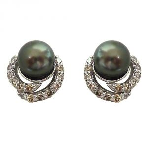 Silver Earrings - Surat Diamond 0.28ct Real Diamond & Tahitian Black Pearl Elegant Earrings SDE6
