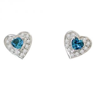 Silver Earrings - Surat Diamond Real Diamond & Heart Shaped Topaz Silver Earrings SDE9