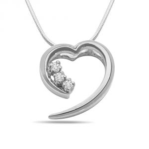 Surat Diamond Fall In Love - Real Diamond & Sterling Silver Pendant With 18 In Chain Sdp104