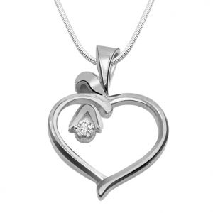 Surat Diamond Desire Love - Real Diamond & Sterling Silver Pendant With 18 In Chain Sdp106