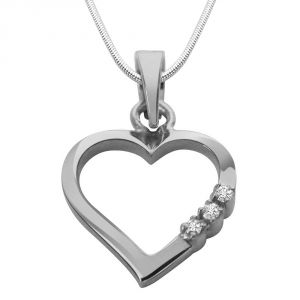 kalazone,jpearls,surat diamonds Silvery Jewellery - Surat Diamond Way To Heart- Real Diamond & Sterling Silver Pendant with 18 IN Chain SDP108
