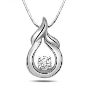 Surat Diamond Natural High - Real Diamond & Sterling Silver Pendant With 18 Inch Chain