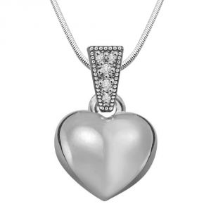 Surat Diamond Heart Full Of Soul - Real Diamond & Sterling Silver Pendant With 18 Inch Chain