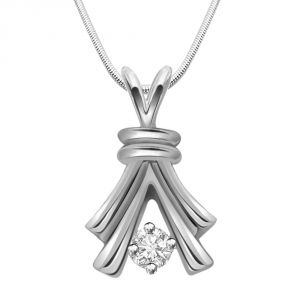 Diamond Pendants, Sets - Surat Diamond Get Growing - Real Diamond & Sterling Silver Pendant With 18 Inch Chain