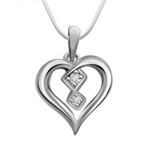 rcpc,avsar,soie,Surat Diamonds Silvery Jewellery - Surat Diamond Love To Laugh - Real Diamond & Sterling Silver Pendant with 18 IN Chain SDP139