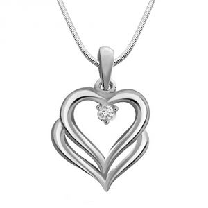 Surat Diamond Bond Of Love - Real Diamond & Sterling Silver Pendant With 18 In Chain Sdp141