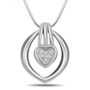 Surat Diamond Feel The Magic - Real Diamond & Sterling Silver Pendant With 18 Inch Chain