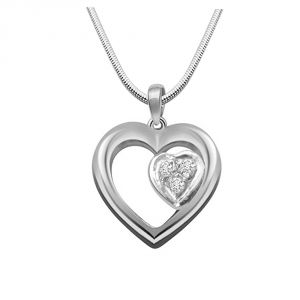 Surat Diamond Dual Hearts - Real Diamond & Sterling Silver Pendant With 18 In Chain Sdp143