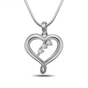 Surat Diamonds Silver Pendant Sets - Surat Diamond Precious Memories - Real Diamond & Sterling Silver Pendant with 18 IN Chain SDP147